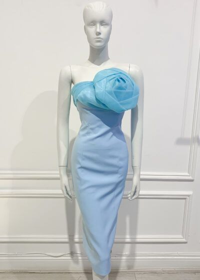 Pale blue strapless pencil dress with organza rose detail