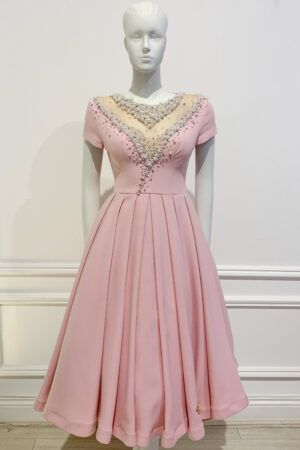 Pale pink pearl embellished aline dress with cap sleeve