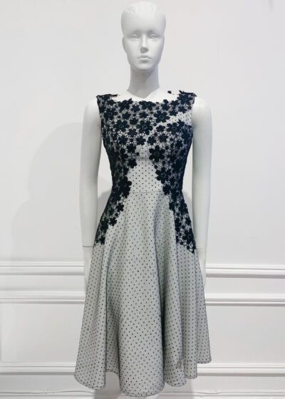 Black and White Lace A-line sleeveless dress with boat neck