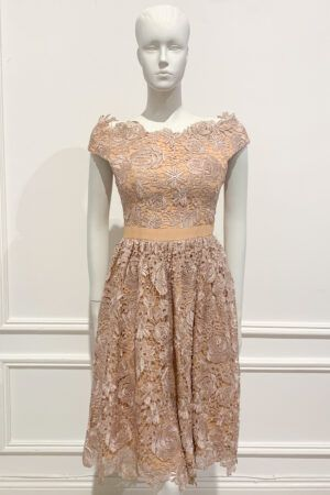 Nude bardot a-line dress with lilac lace overlay