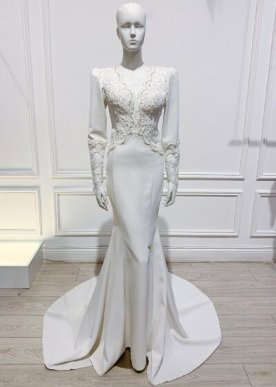 Ivory lace full length gown with long sleeve and plunge neckline
