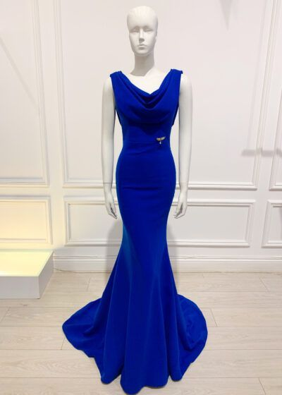Cobalt blue cowl neck and cowl back fishtail gown
