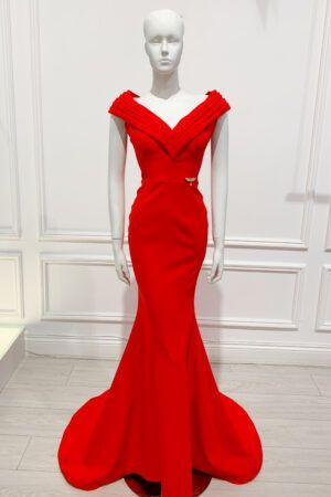 Red layered panel v-neck full length fishtail gown
