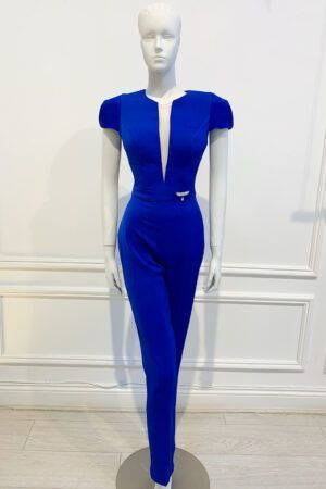 Cobalt blue jumpsuit with skinny trouser, plunging mesh neckline and cap sleeves