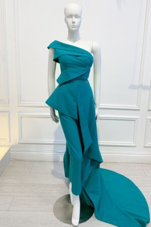 Teal asymmetric one shoulder jumpsuit with detachable gown skirt