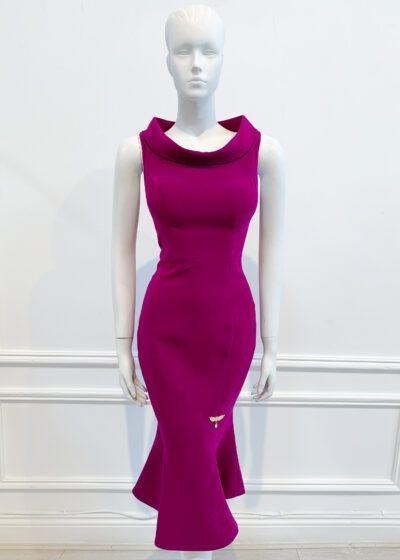 Magenta cowl neck fishtail dress