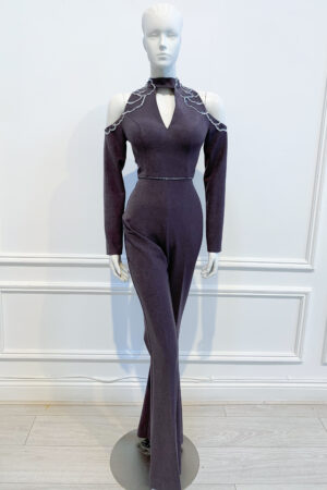 Charcoal beaded jumpsuit with wide-legs, long-sleeves and cutouts at the neck and shoulder