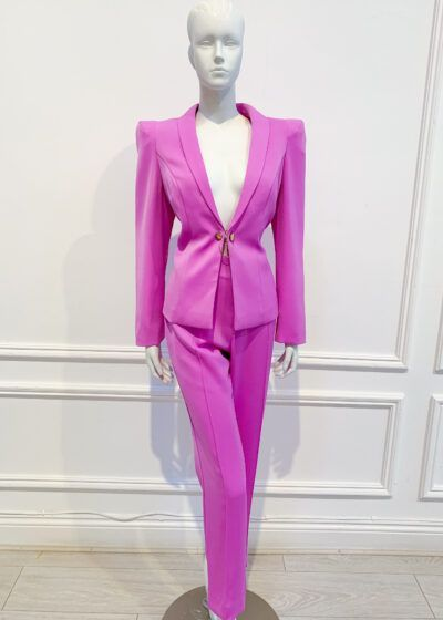 Vibrant lilace suit with straight leg trousers and pointed power shoulder