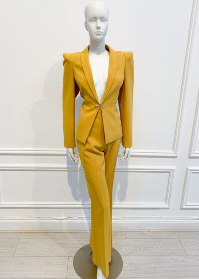 Mustard wide-leg suit with pointed shoulder