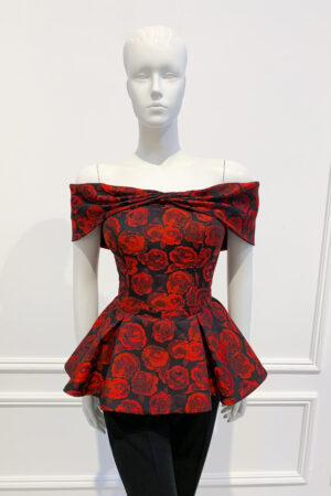 Bardot peplum top with embossed rose print