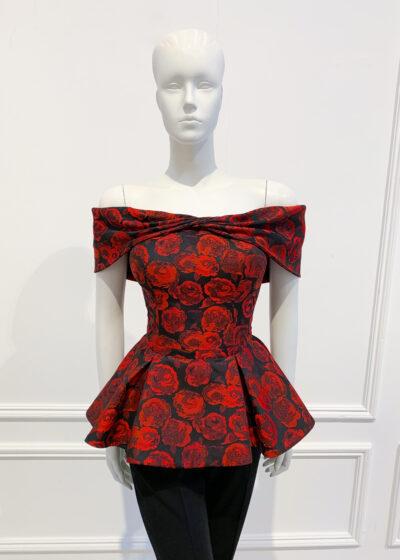 Bardot peplum top with embossed rose print