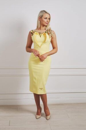 Phoenix_V Hifden dress - canary yellow pencil dress with matching flower jewels and 3D heart detailing on the bust