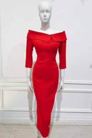 Bright red midaxi length oversized collar bardot pencil dress
