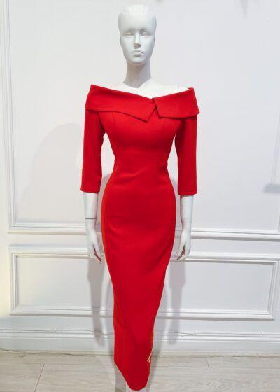 Bright red midaxi length oversized collar bardot pencil dress