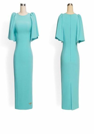 Mint green pencil dress with dramatic puff shoulder
