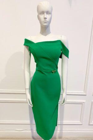 Kelly green pencil dress with asymmetric bardot neckline