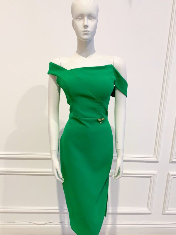 Kelly green pencil dress with asymmetric bardot neckline