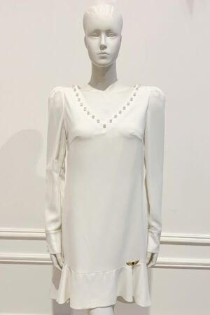 White shift dress with ruffle hemline and pearl detailing
