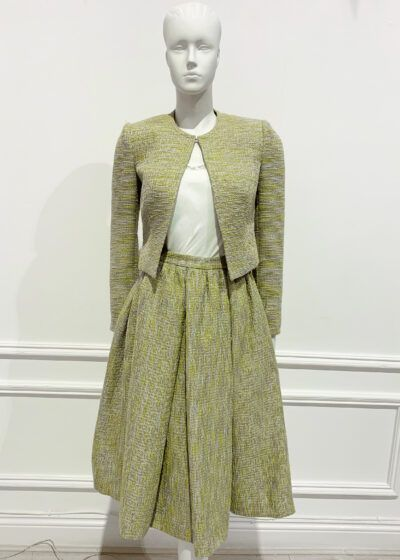 Lime tweed two piece short jacket and a-line skirt suit