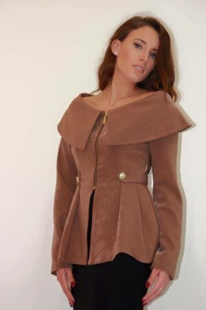 Phoenix_V brown bardot peplum jacket with gold hardware