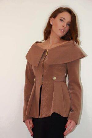 Phoenix_V brown bardot peplum jacket with gold hardware