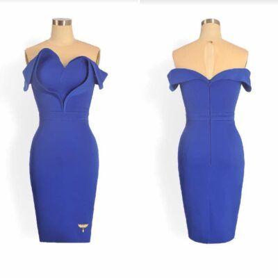 Phoenix_V Chicago mini dress - blue satin dress with 3D heart detailing
