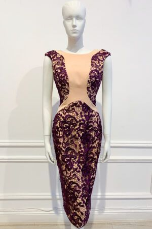 Nude cap sleeve pencil dress with purple lace overlay
