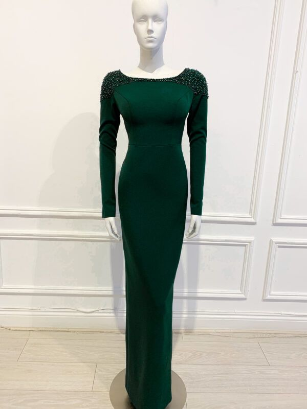 Forest green long sleeved pencil gown with scoop back and matching beading