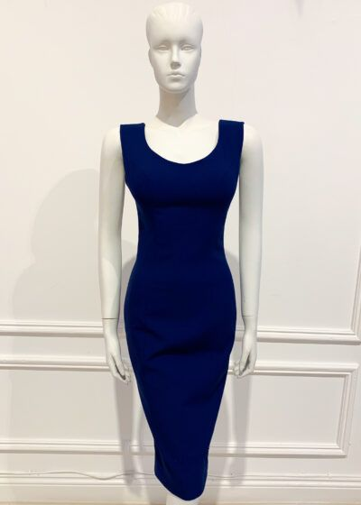Navy sleeveless pencil dress with thick straps and deep scoop back