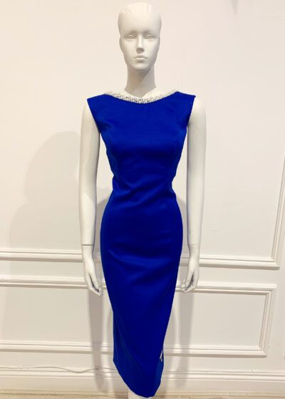 Cobalt blue sleeveless pencil dress with pearl neck and scoop back