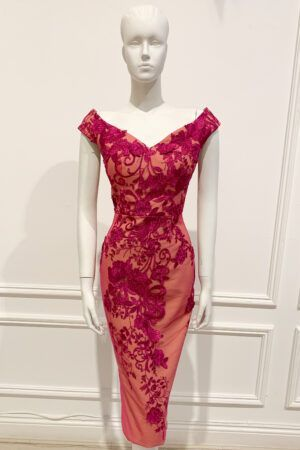 Cerise lace embroidered bardot neckline pencil dress