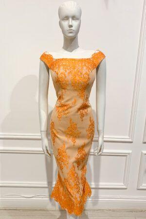 Orange eyelash lace bardot pencil dress with flared hem