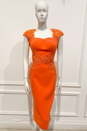 Orange sweetheart neckline pencil dress with lace detailing and cap sleeve