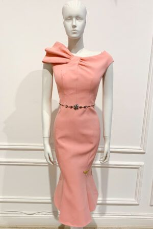 Peach sleeveless fishtail with shoulder bow effect and silver jewelled waistband