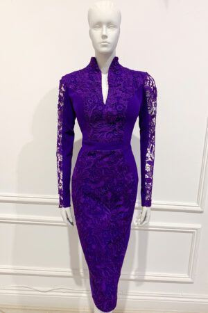 Deep purple long sleeve lace pencil dress with teardrop neckline and high collar