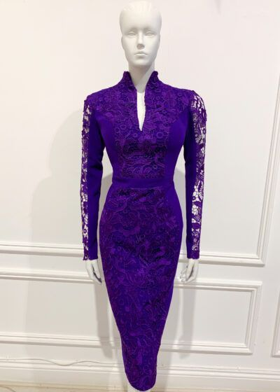 Deep purple long sleeve lace pencil dress with teardrop neckline and high collar