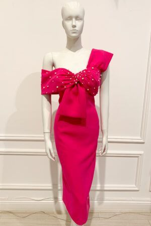 Hot pink empire waist pencil dress with bow detail and pearls