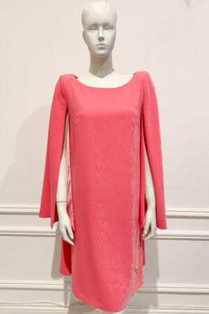 Bubblegum pink cape sleeve shift dress with boat neck and shoulder pad