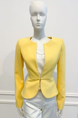 Bright yellow blazer-style peplum collarless jacket