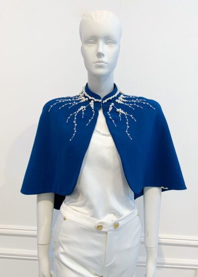 Deep teal high neck cape with elaborate ivory pearl detailing