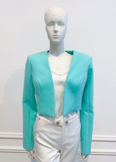 Mint long-sleeved cropped bolero jacket
