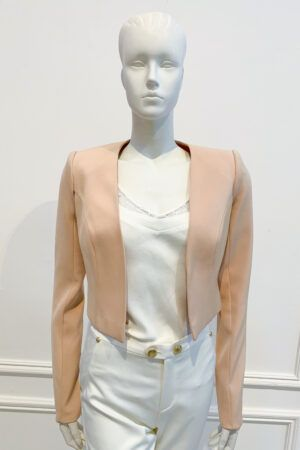 Neutral long-sleeved cropped bolero jacket
