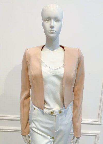 Neutral long-sleeved cropped bolero jacket