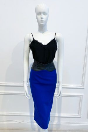 Cobalt blue pencil skirt with leather waistband