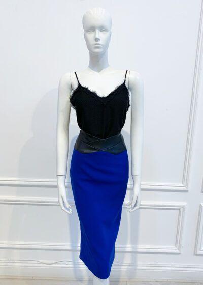 Cobalt blue pencil skirt with leather waistband
