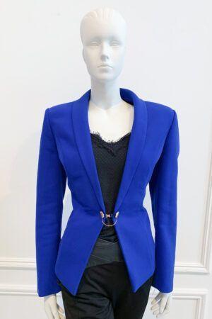 Cobalt blue blazer with gold button detailing