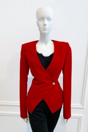 Deep red wrap blazer with shoulder pad and gold button detail