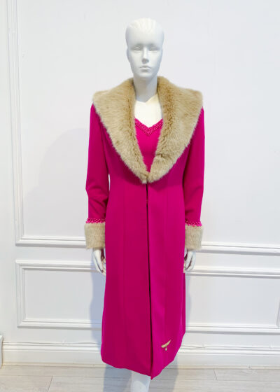Cerise pink dress coat with brown fur collar and cuffs
