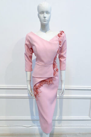 Pale pink half peplum v-neck v-back pencil dress with lace flower embroidery