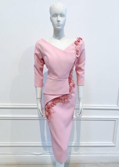 Pale pink half peplum v-neck v-back pencil dress with lace flower embroidery